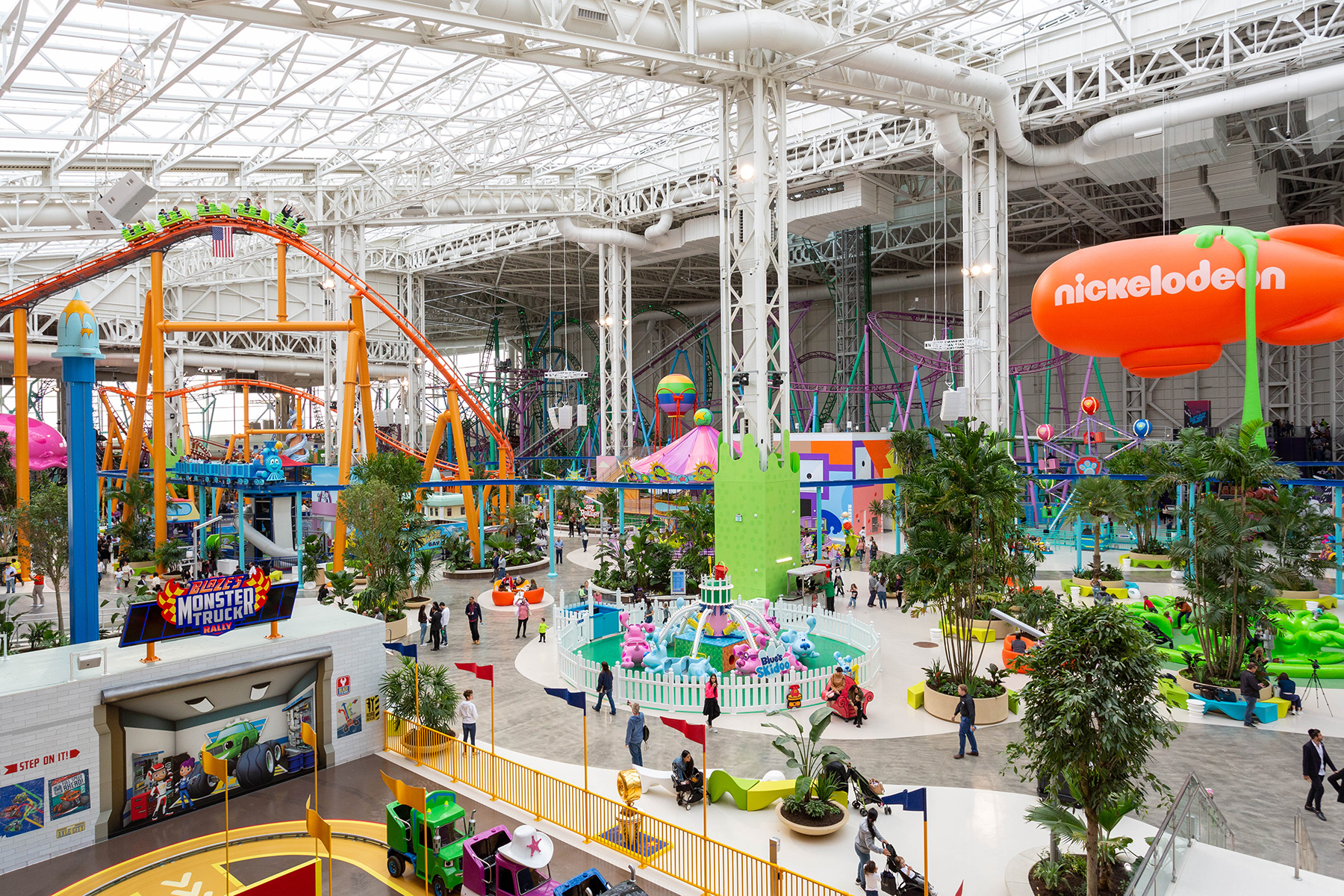 American Dream's Nickelodeon Universe theme park has been open since October, but the complex's stores and restaurants aren't set to debut for months. (John Georgiadis/CoStar)