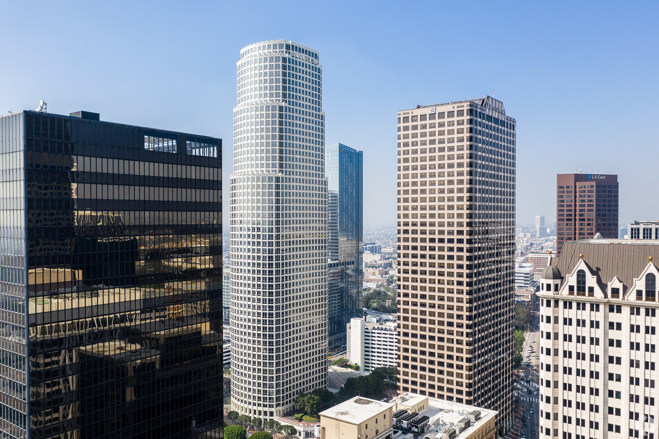 The Los Angeles' downtown skyline is dotted with high-rise office towers offering large availabilities of office space. (CoStar)