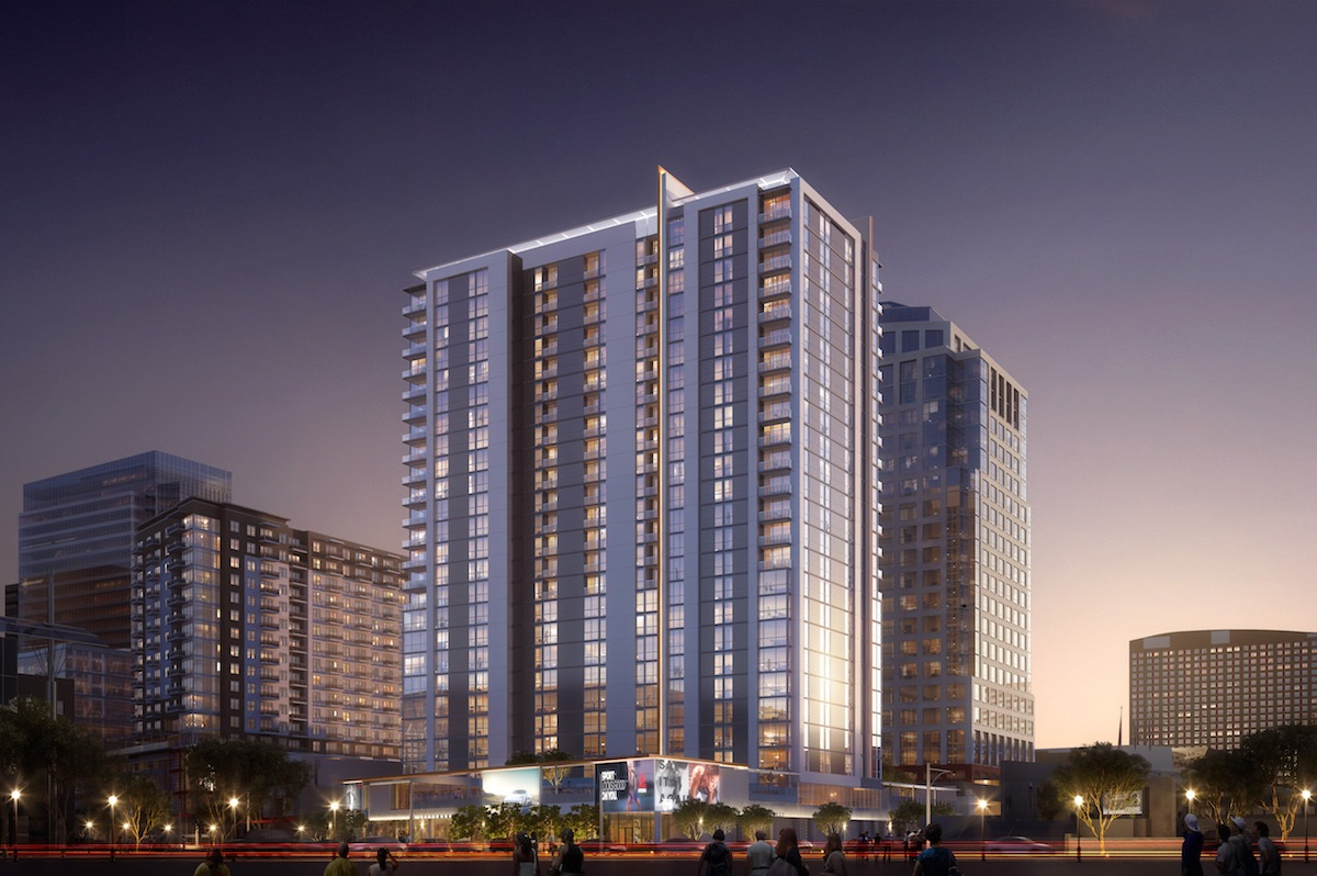 The 379-unit Adeline luxury apartment complex in Phoenix will be near the new downtown Fry's grocery store. (Hines)