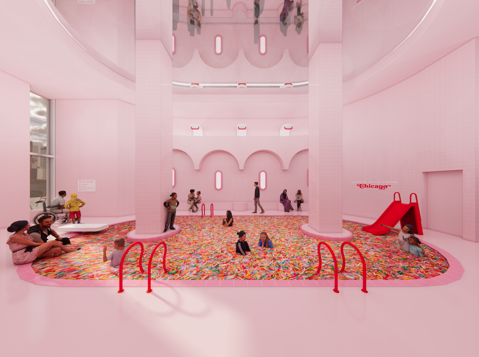 The Museum of Ice Cream?s space in Chicago?s Tribune Tower will include a photo-friendly ?sprinkle pool.? (Museum of Ice Cream)