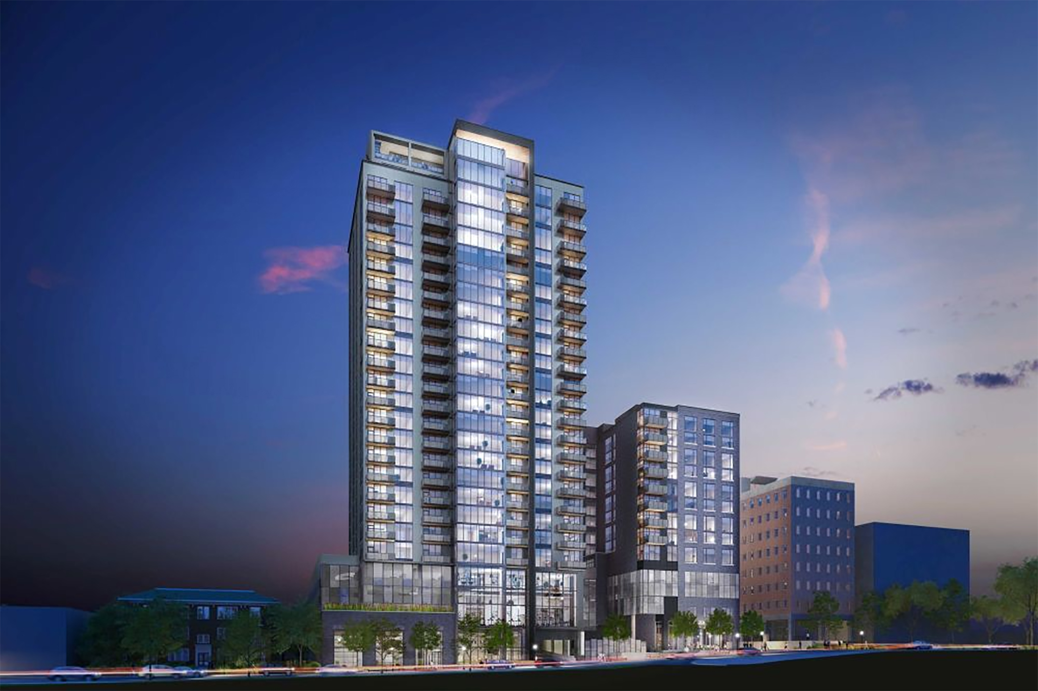 A rendering of Greystar's Ascent Midtown apartments in Atlanta. A similar project is planned for Nashville. (CoStar)
