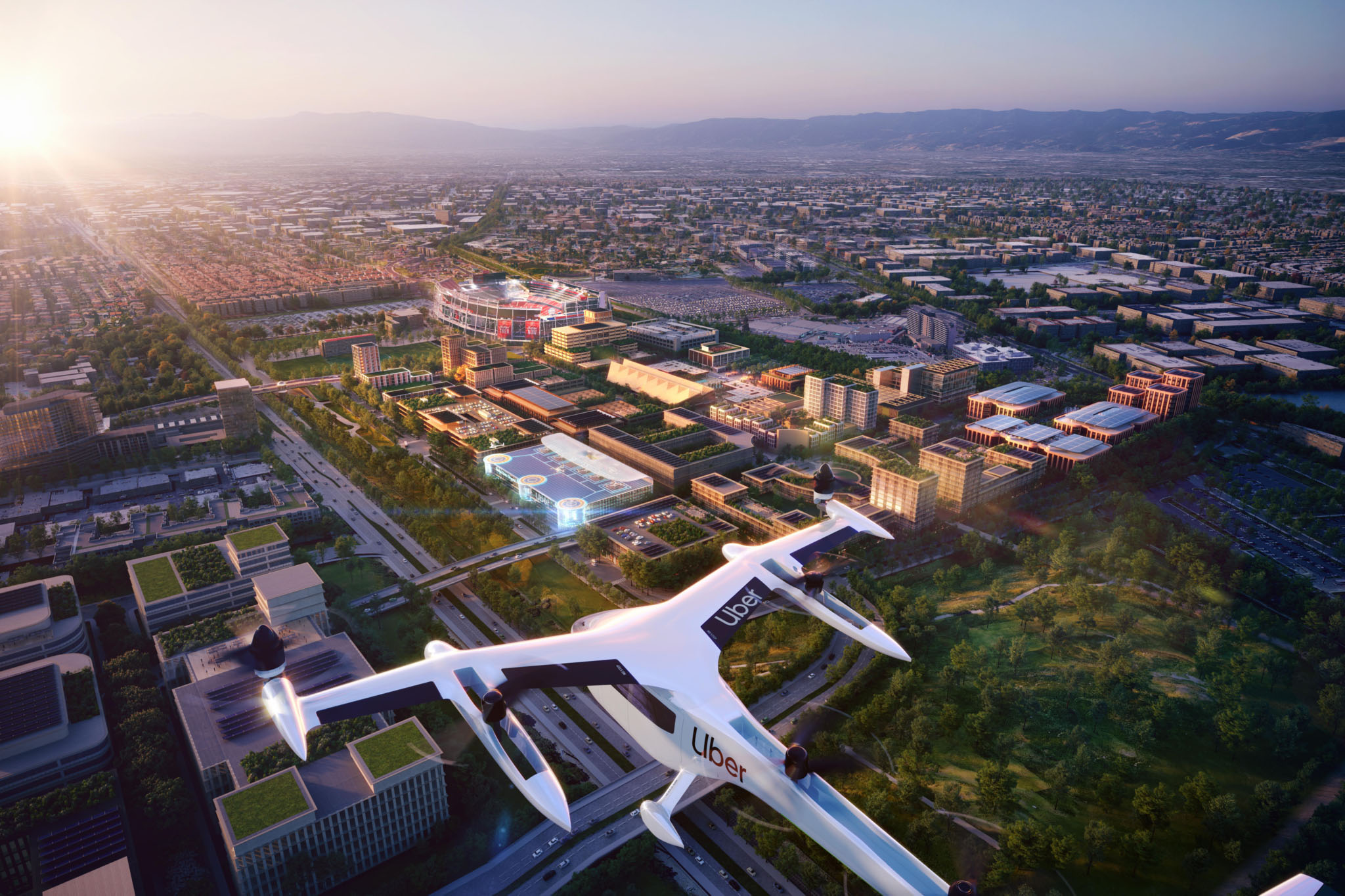Uber and developer Related Cos. released renderings of a skyport that could be built at Related's mixed-use development underway in Santa Clara, Calif.  Illustration: Foster + Partners