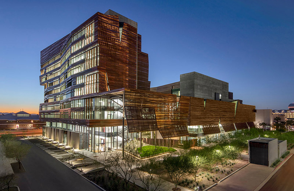 The Phoenix Biomedical Campus includes Arizona State's Biomedical Sciences Partnership building opened in 2017. Illustration: Arizona State University