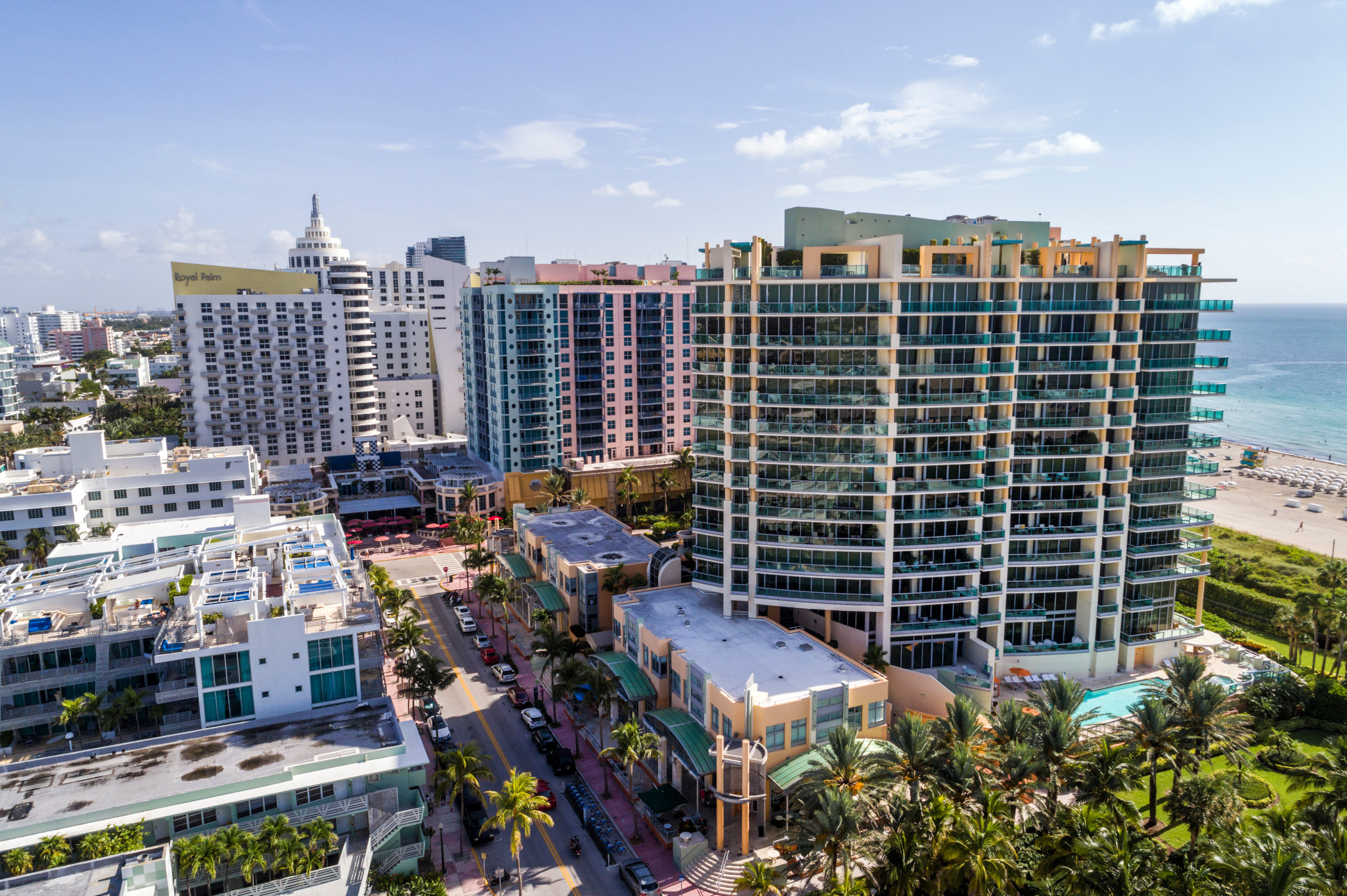 An aerial view of Miami Beach hotels and condominiums on Ocean Drive, an area that had the highest hotel occupancy among the largest U.S. tourism markets. (Getty Images)