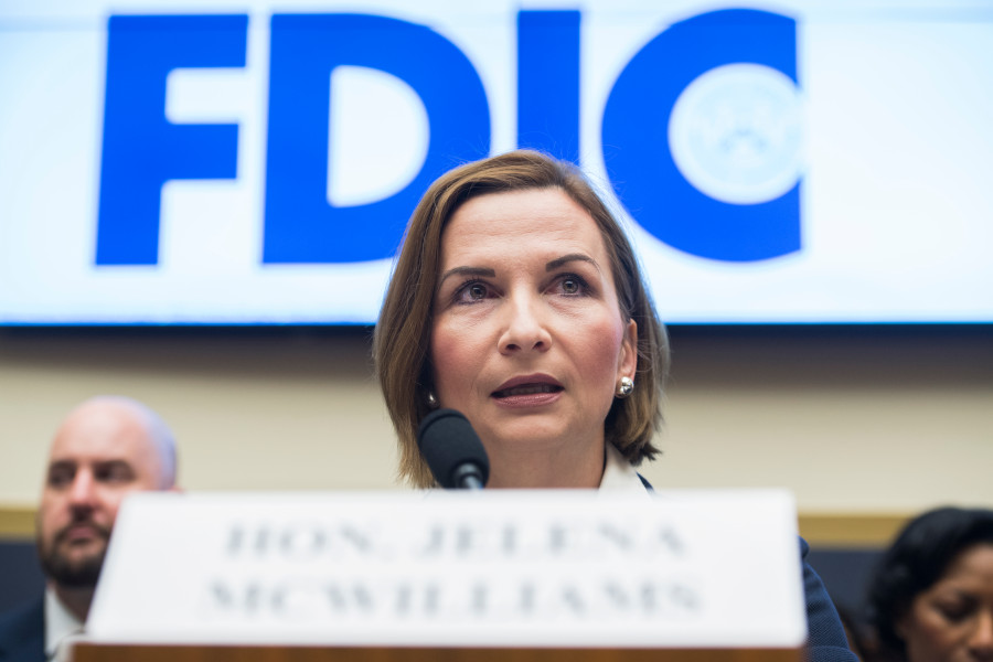 Federal Deposit Insurance Corp. Chairman Jelena McWilliams addressed the coronavirus pandemic's impact on the U.S. banking industry this week. (Getty Images)