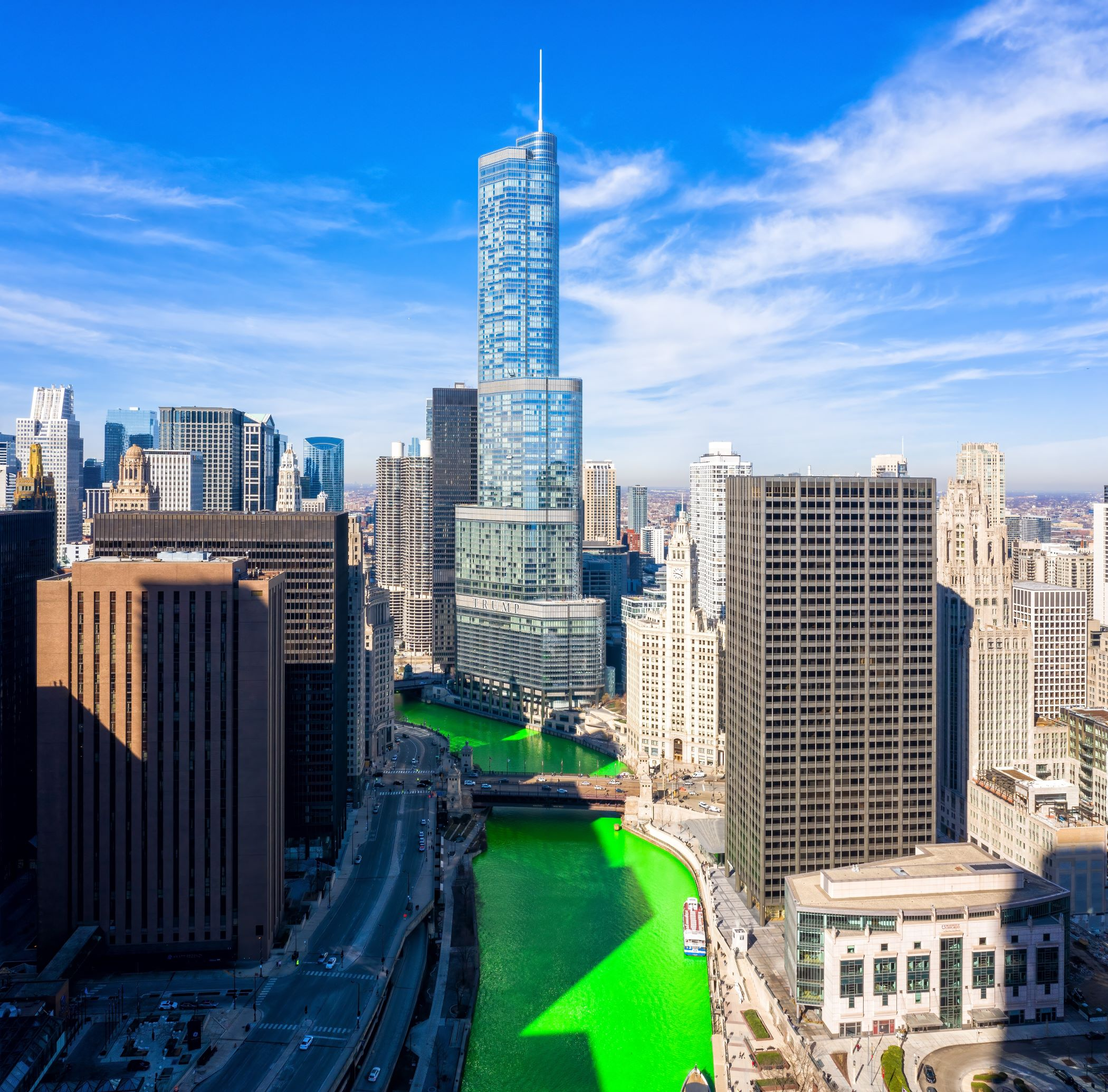 The Chicago River, looking west from Lake Michigan, got the traditional St. Patrick?s Day dye job though much of the city?s other celebrations were canceled because of COVID-19 social-distancing and mask mandates. (Gian Lorenzo Ferretti/CoStar)