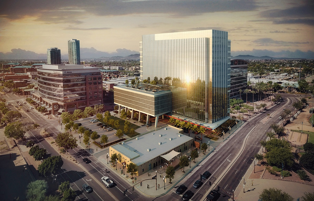 The five-star office tower at 100 S. Mill Ave. is more than 40% preleased ahead of its delivery in the fourth quarter of 2021. (Hines)