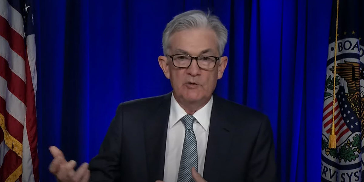 Federal Reserve Chair Powell participates in the virtual Federal Open Market Committee press conference on March 17. (Federal Reserve)