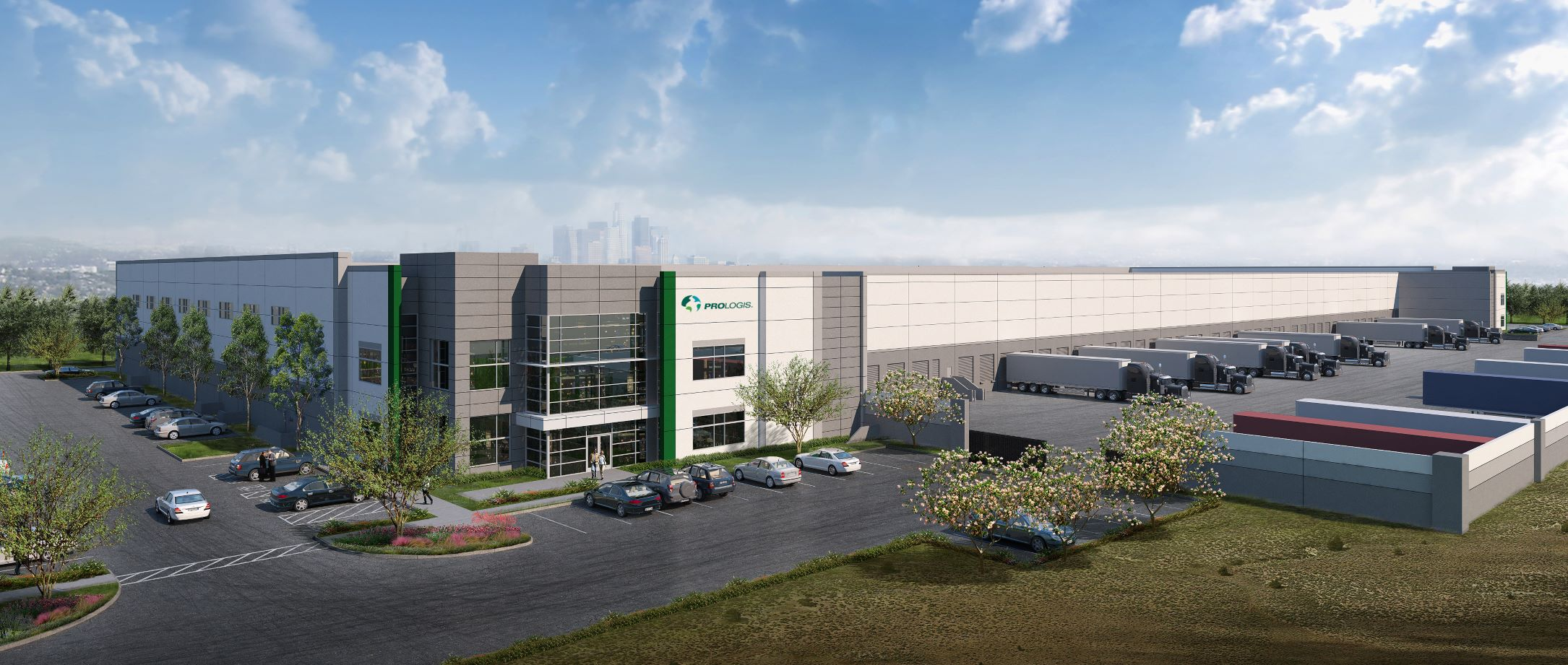 Construction is underway on the two-building Prologis Vernon Business Center, south of downtown Los Angeles.  Rendering: Newmark Knight Frank