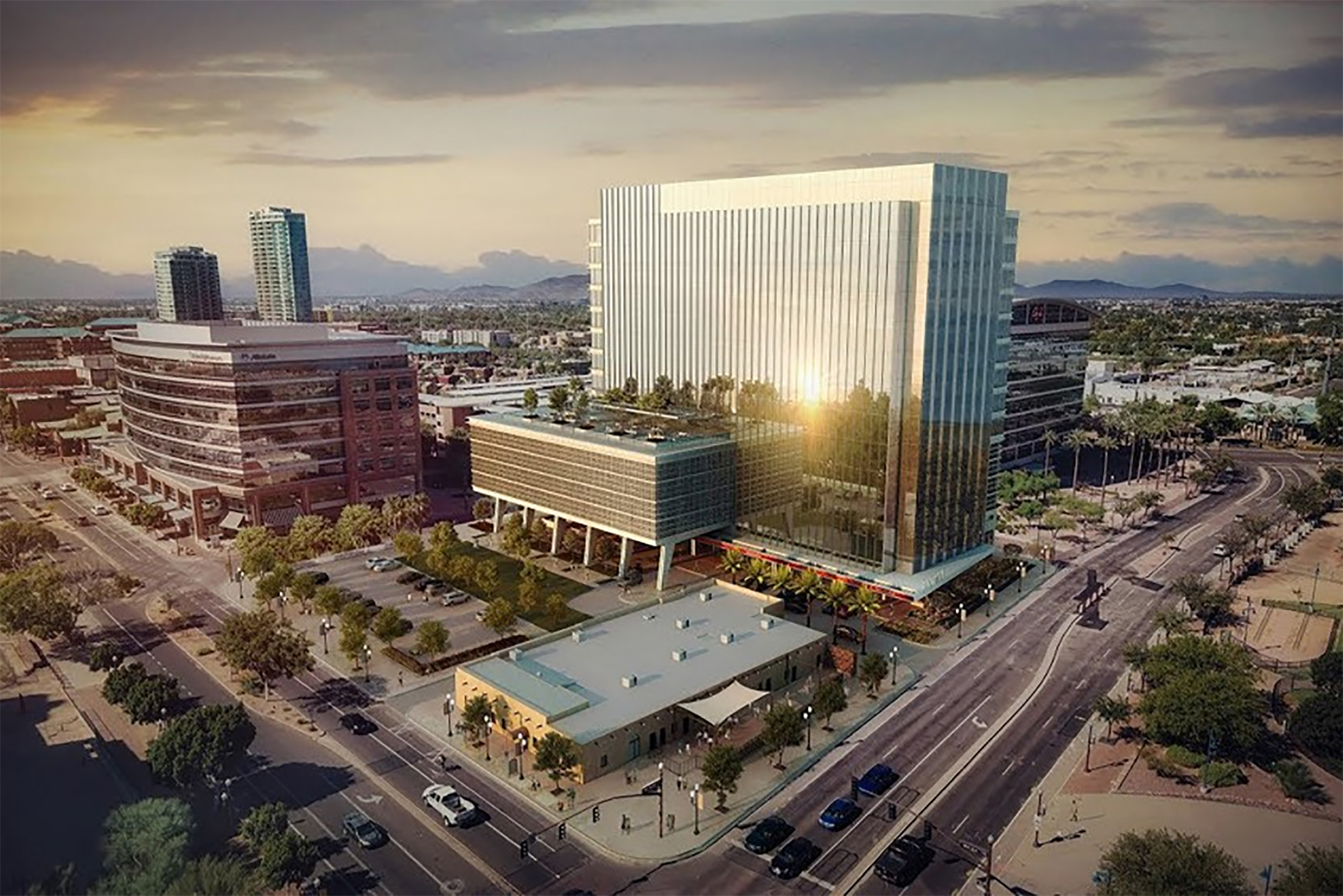 Construction is under way on the office portion of One Hundred Mill in Tempe, Arizona. (City of Tempe)