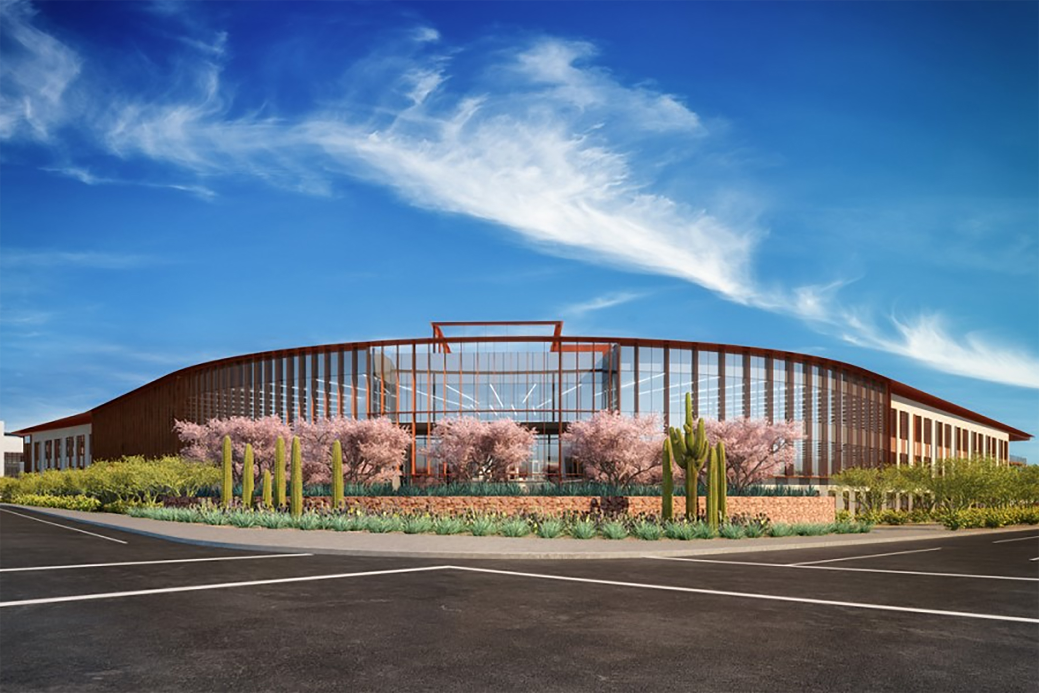 The three-story office building at Scottsdale Entrada is expected to open in third-quarter 2021. (Rendering: Banyan Residential)