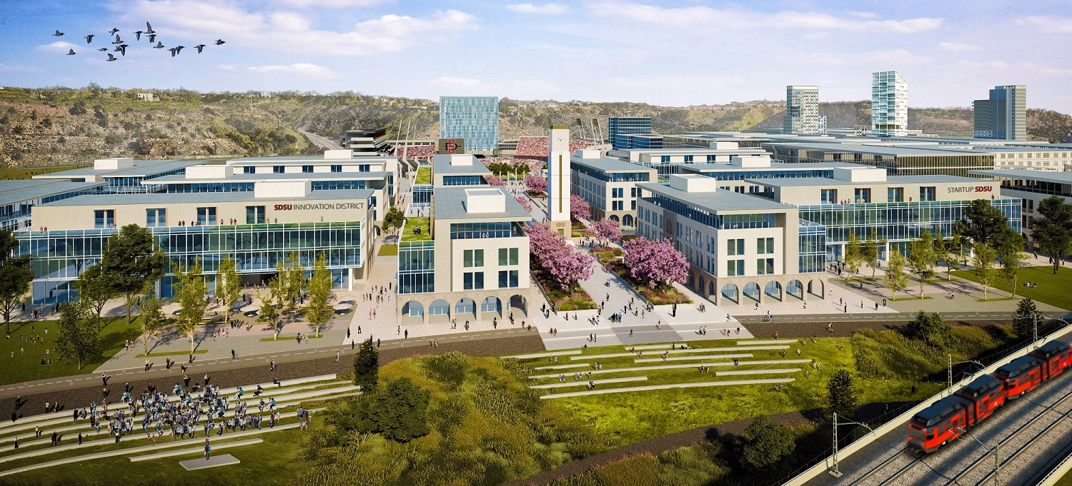 Plans for San Diego State University's western campus include offices, apartments, retail and hotels along with a new stadium. (San Diego State University)