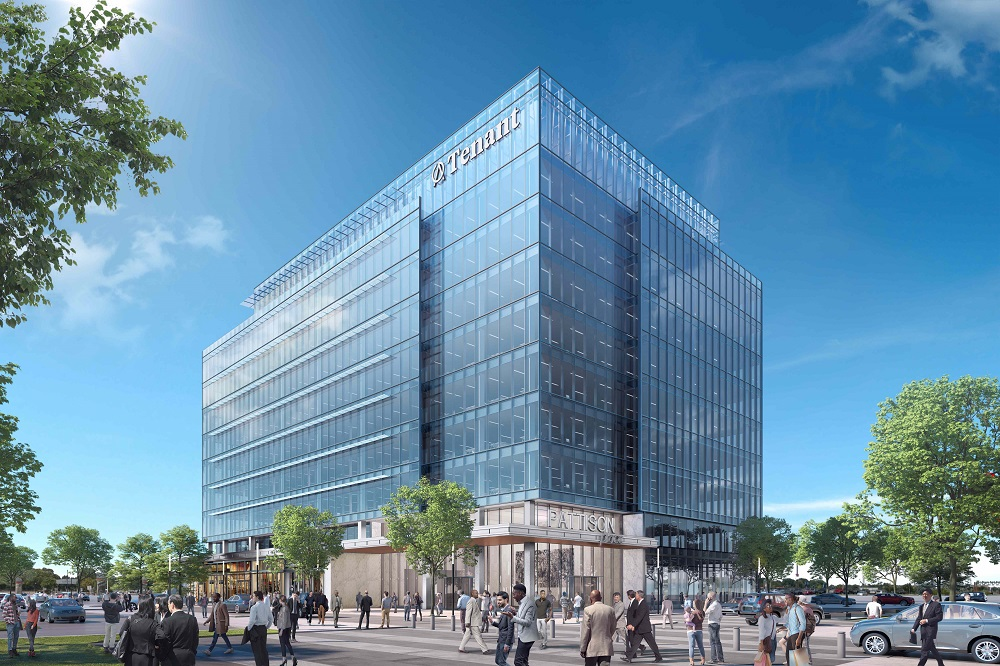 Rendering of the planned 200,000-square-foot Pattison Place office tower in Philadelphia. Image: The Cordish Cos.