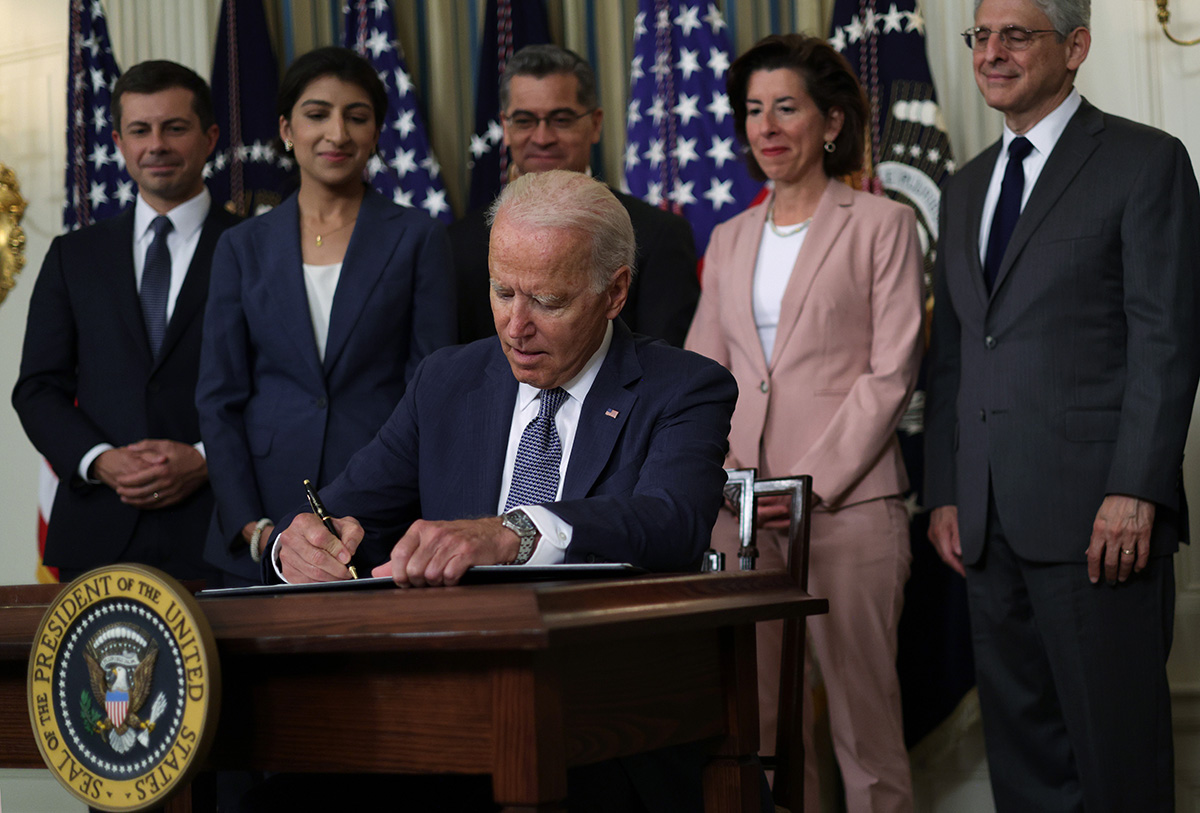 President Biden signed a sweeping executive order that directs federal agencies to encourage competition in the U.S. economy. (Getty Images)