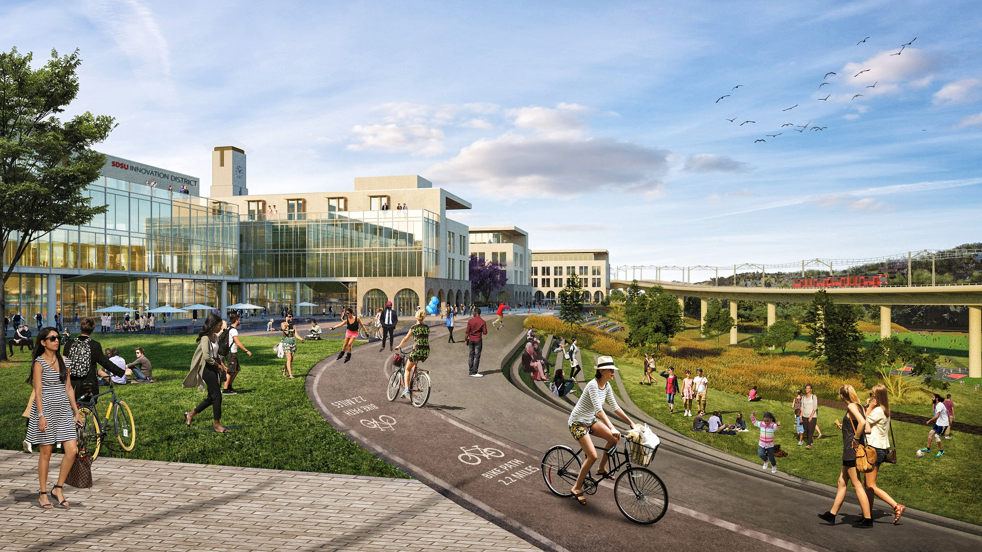 Plans for San Diego State University's new western campus include office, retail, apartment, hotel and civic elements, along with a new stadium. (SDSU, Carrier Johnson + Culture)