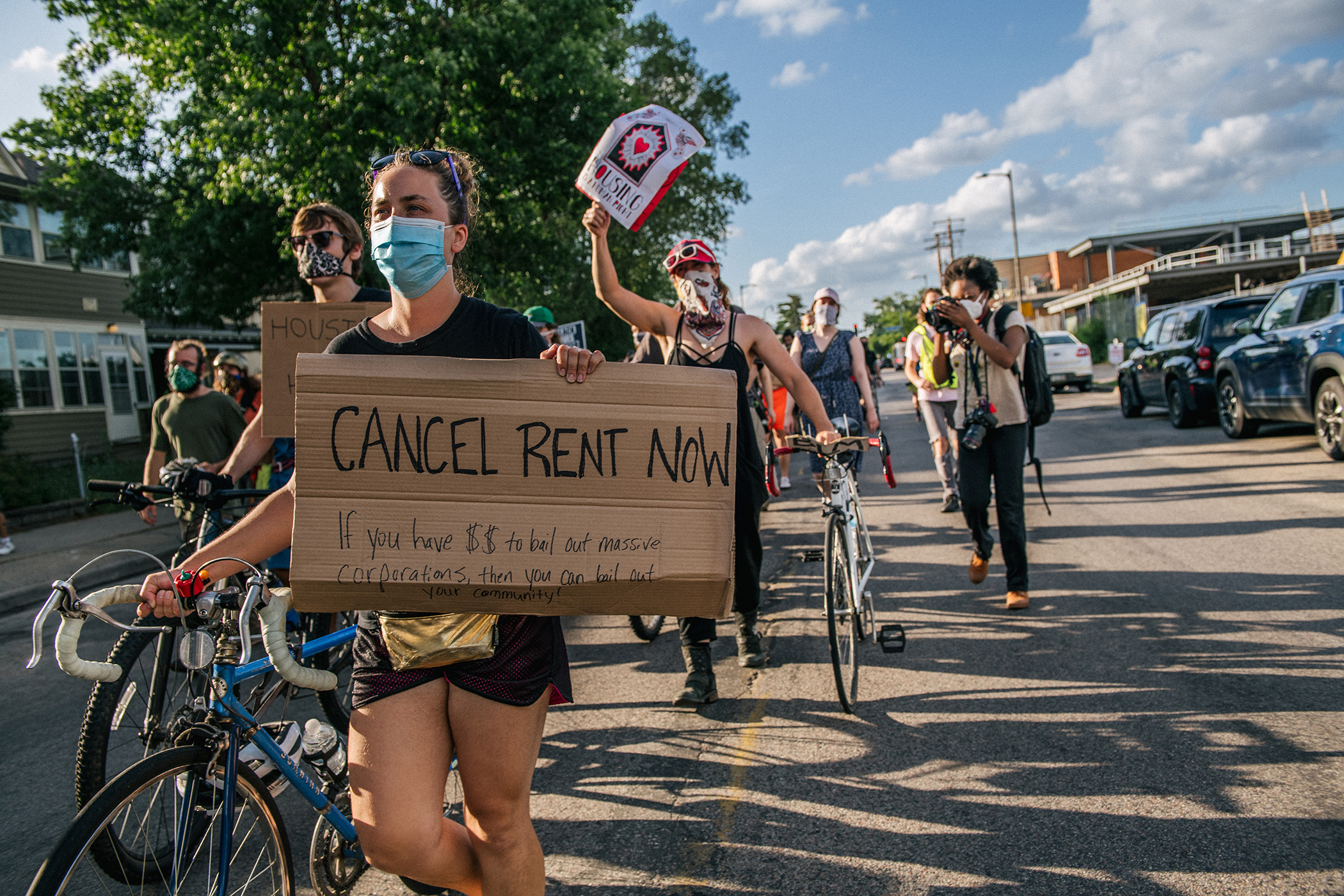 Demonstrators march in the street during the Cancel Rent and Mortgages rally on June 30 in Minneapolis. (Getty Images)