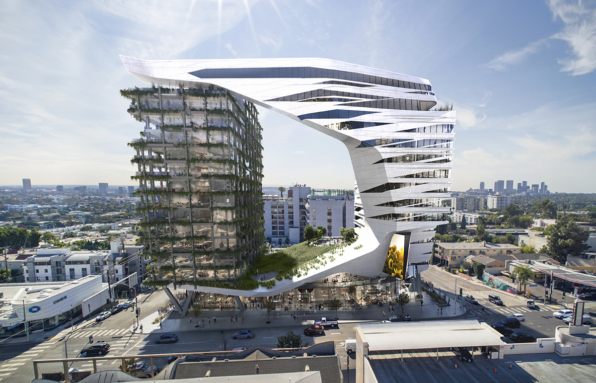 A mixed-use project would be built on the site of the live music venue the Viper Room on Sunset Boulevard in West Hollywood, California. Illustration: Morphosis Architects.