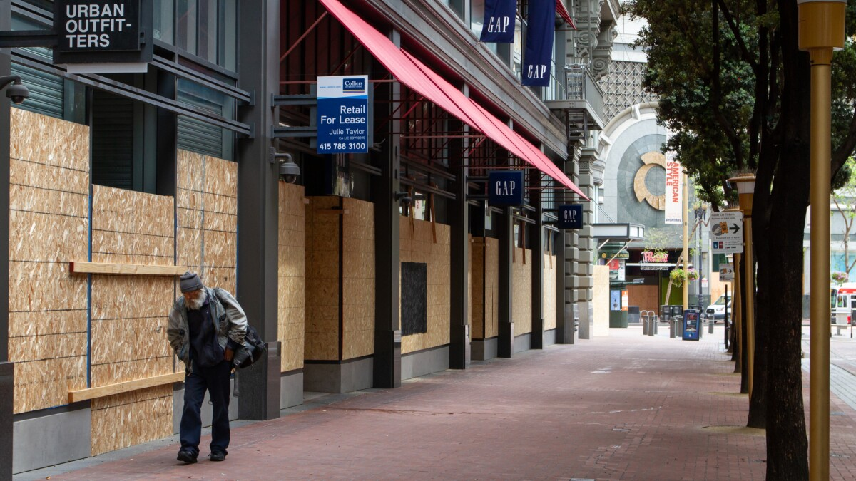 Retail stores are boarded up in San Francisco during the coronavirus pandemic. (Getty Images)