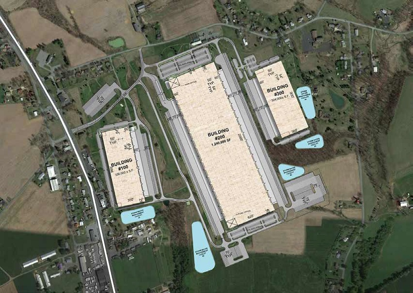 Aerial of the 3 million-square-foot Hamburg Logistics Park in Hamburg, Pennsylvania. Image: JLL