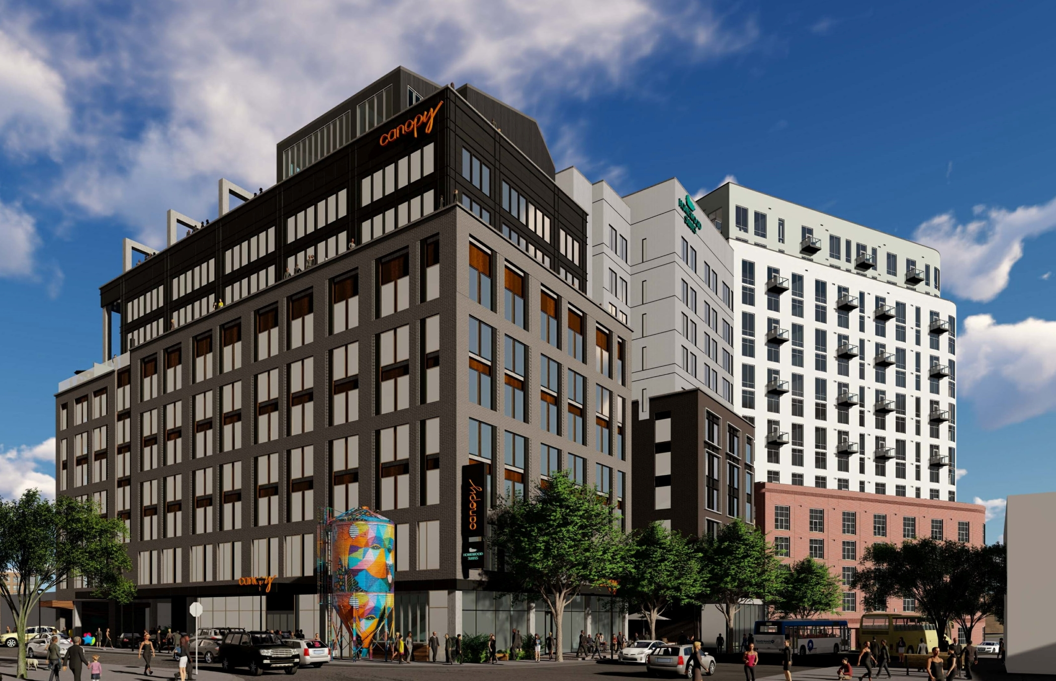 Rendering of a dual-branded hotel that Tara Investments has planned for Nashville, Tennessee's The Gulch. (Metro Planning)