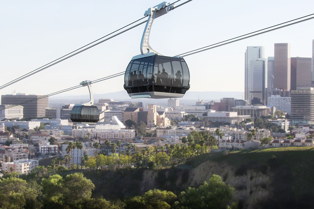 The gondola from Union Station to Dodger Stadium would cost $125 million. Rendering: Aerial Rapid Transit Technologies